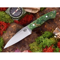 Bark River Bush Seax Bantam Green and Gold Elder Burl