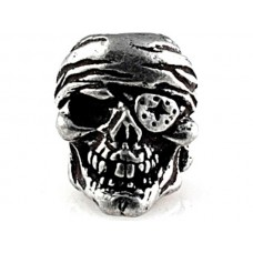 One-Eye Jack Skull Bead Pewter
