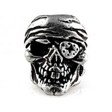 One-Eye Jack Skull Bead Pewter