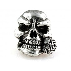Rose Skull Bead Pewter